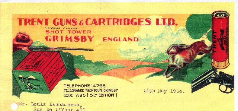 Trent Guns and Cartridges Letterhead, 1934