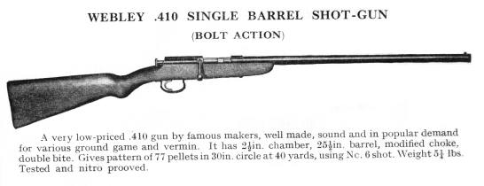 Webley .410 Bolt Action Gun, Circa 1953